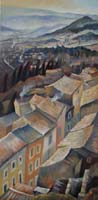 LUBERON ROOFTOPS IN WINTER - Claude-Max Lochu - Artiste Peintre - Paris Painter