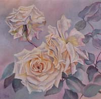 ROSES BLANCHES N°1 - Claude-Max Lochu - Artiste Peintre - Paris Painter