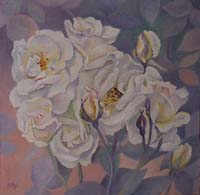 ROSES BLANCHES N°2 - Claude-Max Lochu - Artiste Peintre - Paris Painter