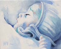 BLUE BABY GIRL N°2 - Claude-Max Lochu - Artiste Peintre - Paris Painter
