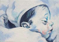 BLUE BABY GIRL N°1 - Claude-Max Lochu - Artiste Peintre - Paris Painter