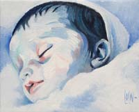 BLUE BABY GIRL N°3 - Claude-Max Lochu - Artiste Peintre - Paris Painter