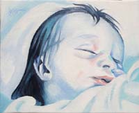 BLUE BABY GIRL N°5 - Claude-Max Lochu - Artiste Peintre - Paris Painter