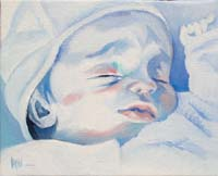 BLUE BABY GIRL N°6 - Claude-Max Lochu - Artiste Peintre - Paris Painter