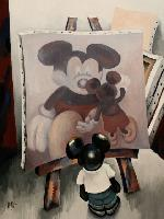 MICKEY IN THE STUDIO - Claude-Max Lochu - Artiste Peintre - Paris Painter