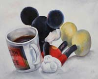 MICKEY AND THE MUG - Claude-Max Lochu - Artiste Peintre - Paris Painter