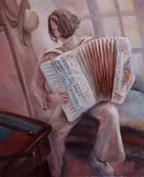 L'ACCORDEONISTE - Claude-Max Lochu - Artiste Peintre - Paris Painter