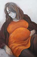 MATERNITE ORANGE - Claude-Max Lochu - Artiste Peintre - Paris Painter