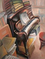 LE PIANO DU BOUQUINISTE - Claude-Max Lochu - Artiste Peintre - Paris Painter