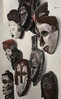 NINE AFRICAN MASKS - Claude-Max Lochu - Artiste Peintre - Paris Painter