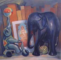 LES 3 ELEPHANTS - Claude-Max Lochu - Artiste Peintre - Paris Painter