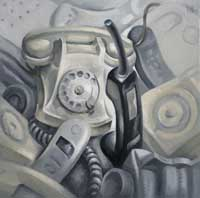 LES TELEPHONES - Claude-Max Lochu - Artiste Peintre - Paris Painter