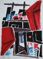 RED ABSTRACT A LA DEFENSE - Claude-Max Lochu - Artiste Peintre - Paris Painter