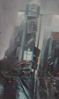 RAINY TIMES SQUARE - Claude-Max Lochu - Artiste Peintre - Paris Painter