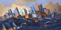 LA DEFENSE VUE DE CARRIERES SUR SEINE - Claude-Max Lochu - Artiste Peintre - Paris Painter