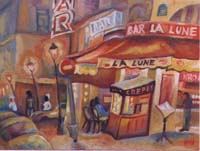 CAFE BAR LA LUNA - Claude-Max Lochu - Artiste Peintre - Paris Painter