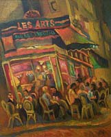 CAFE DES ARTS - Claude-Max Lochu - Artiste Peintre - Paris Painter