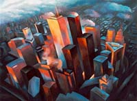 CITY AT DUSK - Claude-Max Lochu - Artiste Peintre - Paris Painter