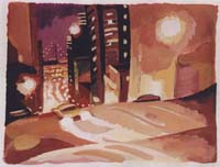 ETUDE POUR CALIFORNIA St AT NIGHT - Claude-Max Lochu - Artiste Peintre - Paris Painter