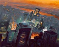 GLOWING SKY ABOVE MANHATTAN - Claude-Max Lochu - Artiste Peintre - Paris Painter