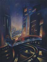 NOCTURNE A LA DEFENSE N°2 - Claude-Max Lochu - Artiste Peintre - Paris Painter