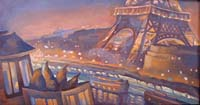 PETIT NOCTURNE ORANGE - Claude-Max Lochu - Artiste Peintre - Paris Painter