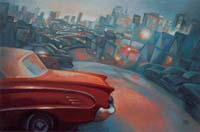 RED CAR IN SF - Claude-Max Lochu - Artiste Peintre - Paris Painter
