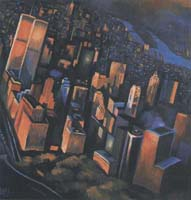 TWILIGHT FLY ABOVE NYC - Claude-Max Lochu - Artiste Peintre - Paris Painter