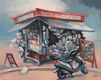 KIOSQUE SUR LA PLAGE - Claude-Max Lochu - Artiste Peintre - Paris Painter