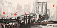 TRAFFIC LENT MAIS FLUIDE SUR LE PONT DE BROOKLYN - Claude-Max Lochu - Artiste Peintre - Paris Painter