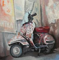 VESPA TOSCANA - Claude-Max Lochu - Artiste Peintre - Paris Painter