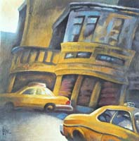 TWO TAXIS IN NYC - Claude-Max Lochu - Artiste Peintre - Paris Painter