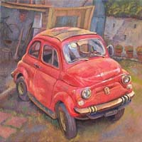 LA CINQUECENTO ROUGE - Claude-Max Lochu - Artiste Peintre - Paris Painter