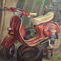 LA VESPA ROUGE - Claude-Max Lochu - Artiste Peintre - Paris Painter